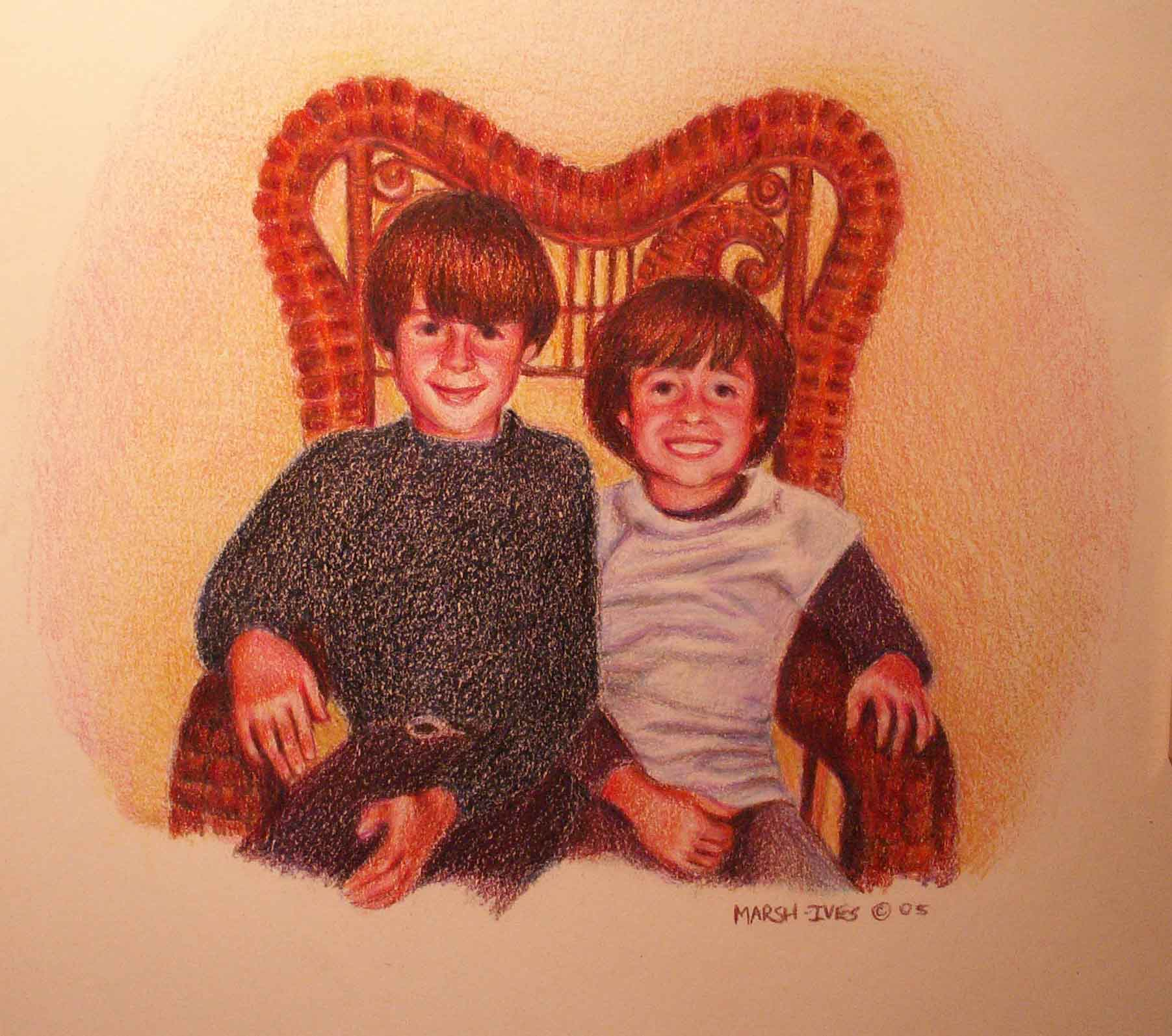 Two Boys in a Cane Chair